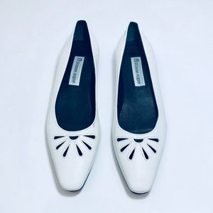 Etienne Aigner • Driscoll• White Leather Flats